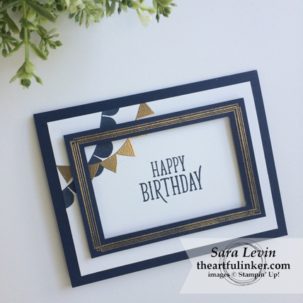 Pick a Pennant and Swirly Frames masculine birthday card for Creation Station Blog Hop from theartfulinker.com