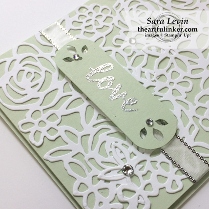 Stamping Sunday Blog Hop Abstract Impressions wedding card - sentiment detail - from theartfulinker.com