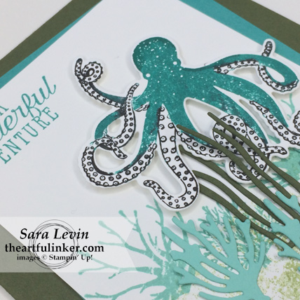 Stamping Sunday Blog Hop Sea of Textures card - octopus detail - from theartfulinker.com #seaoftexutres