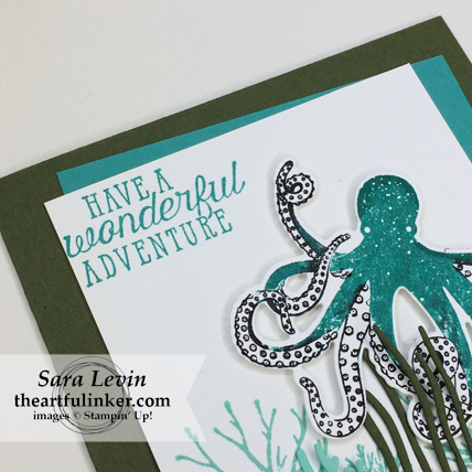 Stamping Sunday Blog Hop Sea of Textures card - sentiment detail - from theartfulinker.com #seaoftextures