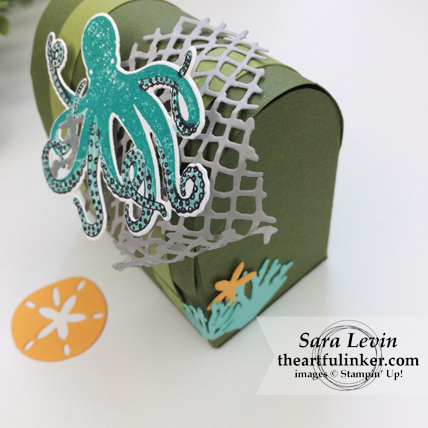 Stamping Sunday Blog Hop Sea of Textures treasure chest favor - coral detail - from theartfulinker.com #seaoftextures