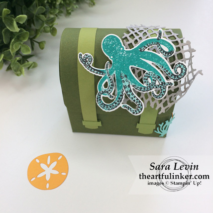 Stamping Sunday Blog Hop Sea of Textures treasure chest favor - octopus detail - from theartfulinker.com #seaoftextures