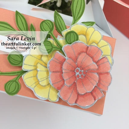 Falling Flowers Mini Gable Box for a birthday - detail of flowers colored with Stampin' Blends Markers - from theartfulinker.com