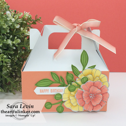 Falling Flowers Mini Gable Box for a birthday from theartfulinker.com