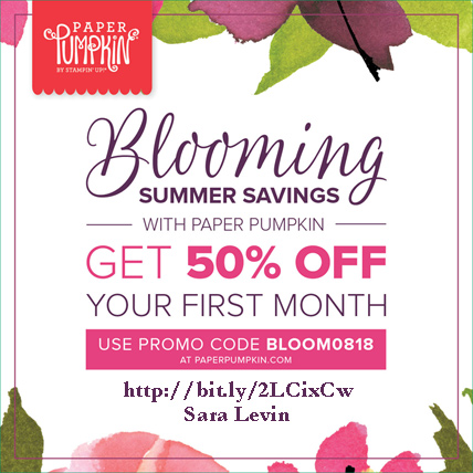 Subscribe to Paper Pumpkin and get 50% off your First month. Go to http://bit.ly/2LCixCw and use Promo Code BLOOM0818 from Sara Levin