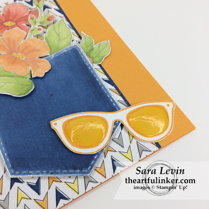 Pocketful of Sunshine with Blended Seasons and Best Route designer paper card - sunglasses detail - from theartfulinker.com