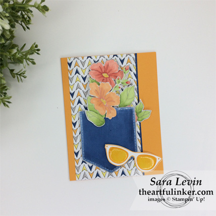 Pocketful of Sunshine with Blended Seasons and Best Route designer paper card - from theartfulinker.com