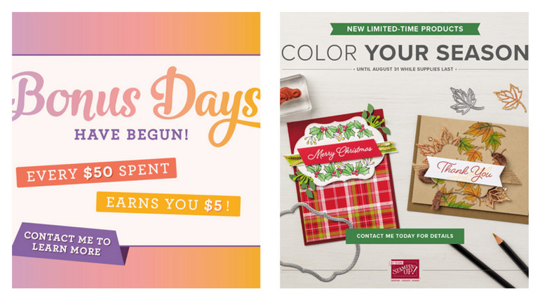 During August earn a $5 Bonus Days coupon for every $50 in product purchased. And, grab the exclusive limited time Blended Seasons stamp set and coordinating Stitched Seasons Framelits from theartfulinker.com