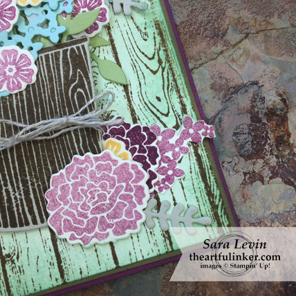 Creating Kindness Blog Hop Rustic Bouquet card using Beautiful Bouquet from Stampin' Up! - corner detail - at theartfulinker.com