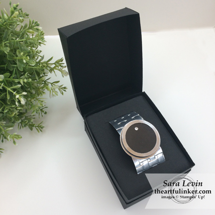 Money Cake with Movado Watch topper - watch in box detail - from theartfulinker.com