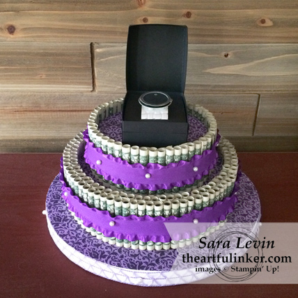 Money Cake with Movado Watch topper from theartfulinker.com