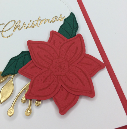 Pop of Petals with Blended Seasons Christmas card - poinsettia detail - from theartfulinker.com