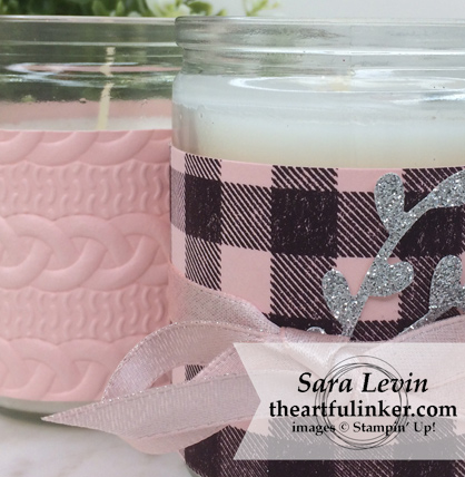 Home Decor SU Style Blog Hop September 2018 Buffalo Check candle wrap - detail - from theartfulinker.com