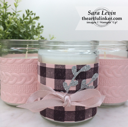 Home Decor SU Style Blog Hop September 2018 Buffalo Check candle wrap trio - from theartfulinker.com