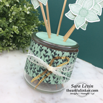 Home Decor SU Style Blog Hop Pop of Petals aromatherapy diffuser - oui jar wrap detail - from theartfulinker.com