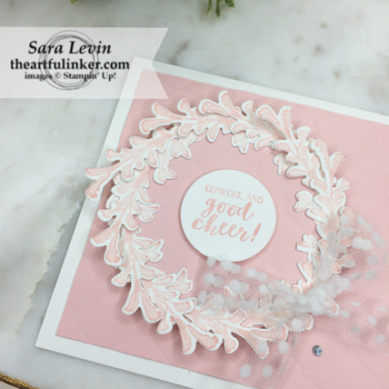 3rd Annual Breast Cancer Blog Hop First Frost card - wreath detail - from theartfulinker.com