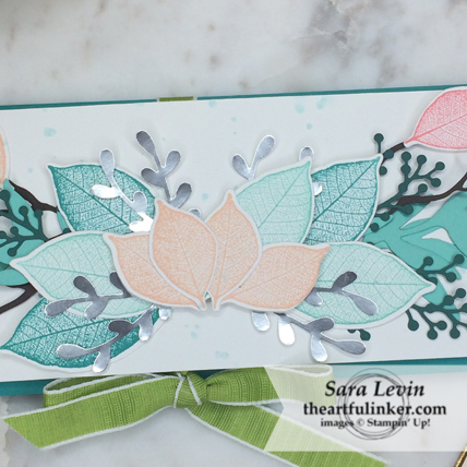 Creation Station Blog Hop Layers of Leaves Rooted in Nature card - leaf detail - from theartfulinker.com