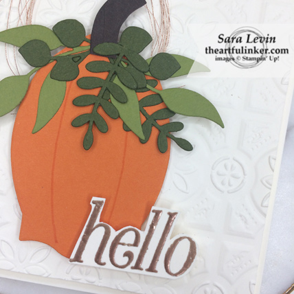 OSAT Blog Hop Ghouls Goblins and Gourds Floral Frames fall card - pumpkin detail - from theartfulinker.com