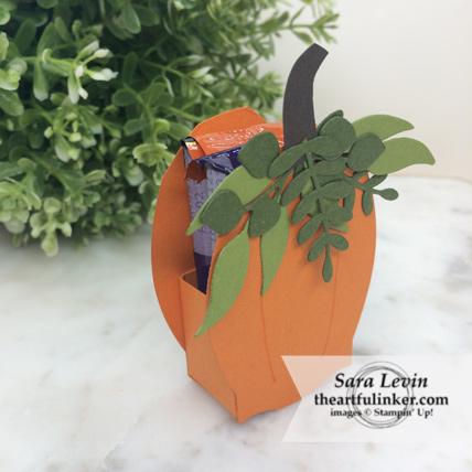OSAT Blog Hop Ghouls Goblins and Gourds Floral Frames pumpkin treat holder - side view - from theartfulinker.com