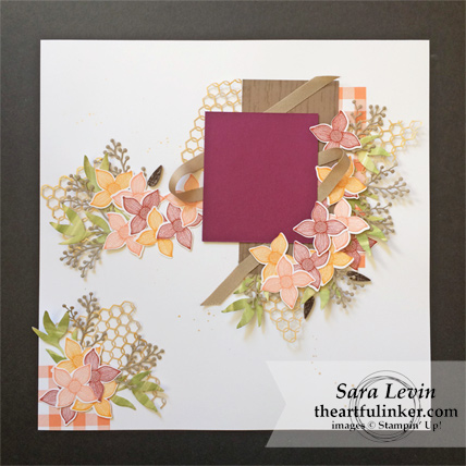 Pop of Petals and Buffalo Check Scrapbook Layout from theartfulinker.com