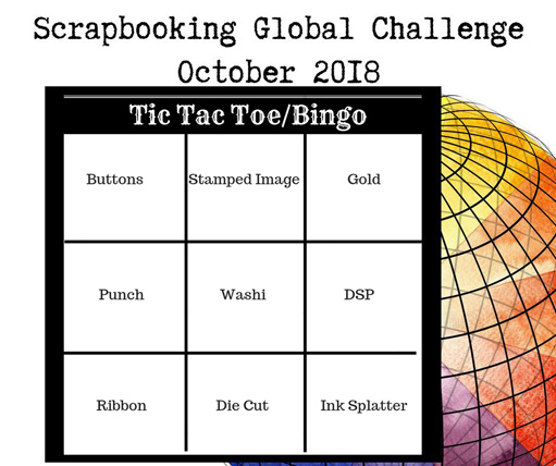 Scrapbooking Global October Challenge Tic Tac Toe/Bingo from theartfulinker.com