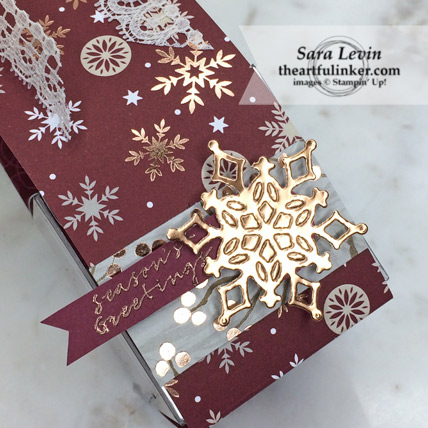Stamping Sunday Blog Hop designer paper Joyous Noel with Snowfall Thinlits favor - detail - from theartfulinker.com