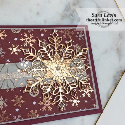 Stampig Sunday Blog Hop designer paper Joyous Noel card with Snowfall Thinlits - snowflake detail - from theartfulinker.com