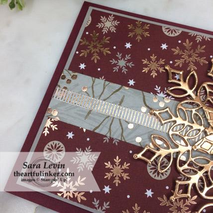 Stamping Sunday Blog Hop designer paper Joyous Noel card with Snowfall Thinlits - Suite Season washi detail - from theartfulinker.com
