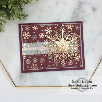 Stamping Sunday Blog Hop Designer Paper Joyous Noel card with Snowfall Thinlits from theartfulinker.com