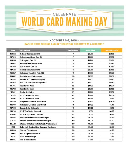 World Card Making Day October 2018 Stampin' Up! products on sale - from theartfulinker.com