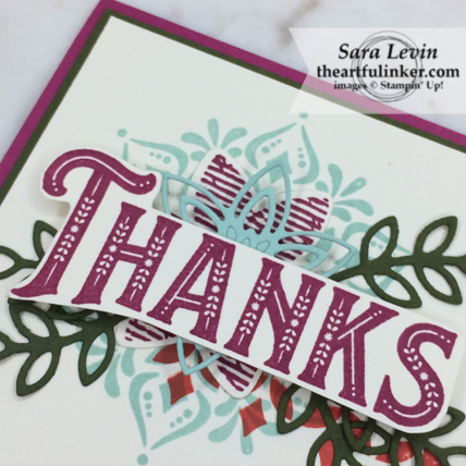 "Creation Station Blog Hop In All Things Give Thanks card, Warm Hearted ""thanks"" detail - from theartfulinker.com"