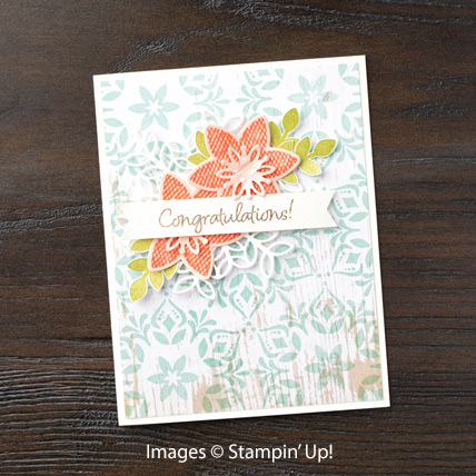 Happiness Surrounds card with Snowfall Thinlits from theartfulinker.com