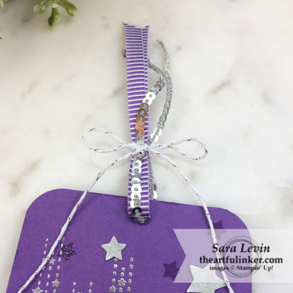 Making Christmas Bright gift tag - ribbon detail - from theartfulinker.com