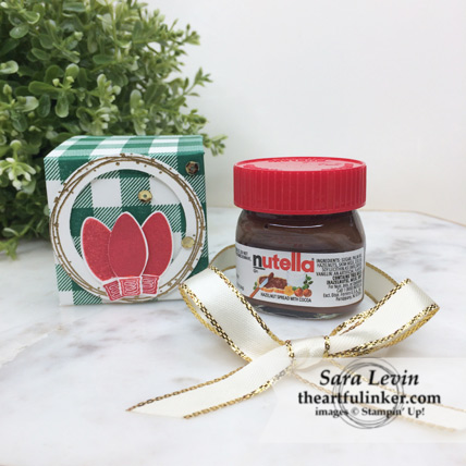 Making Christmas Bright mini Nutella favor with mini Nutella for Stamping Sunday Blog Hop Wrap It Up from theartfulinker.com