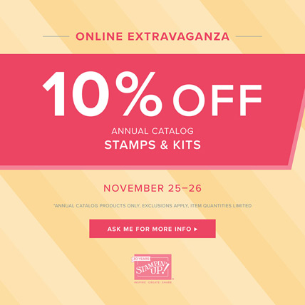 Save 10% on Stamps and kits from the Annual Catalog today and Cyber Monday - http://bit.ly/ShopwithSara