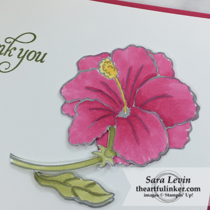 Humming Along Thank You Card - fussy cutting detail - from theartfulinker.com