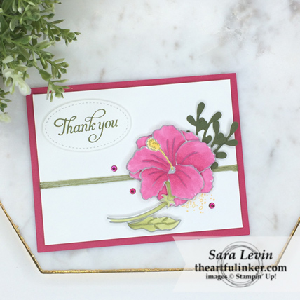 Humming Along Thank You Card - stepped up with Stampin' Blends and embellishments - from theartfulinker.com