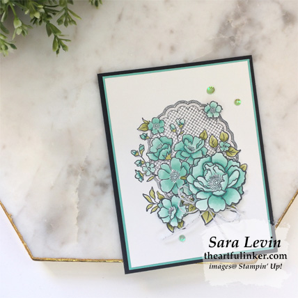 Lovely Lattice card with fussy cutting for Stamping Sunday Blog Hop Sale a Bration 2019 from theartfulinker.com