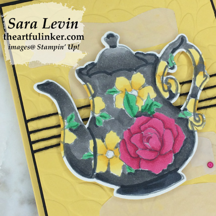 Tea Together Sneak Peek card - coloring detail - from theartfulinker.com