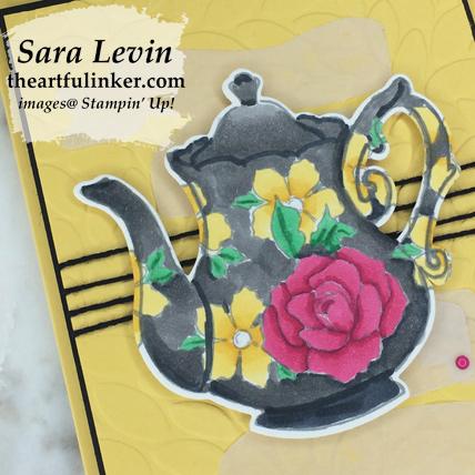 Tea Together Sneak Peek card - coloring detail - from theartfulinker.com