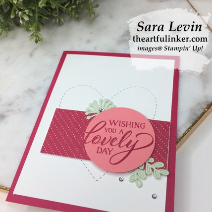 Forever Lovely with Be Mine Stitched Framelits card - angled view - from theartfulinker.com