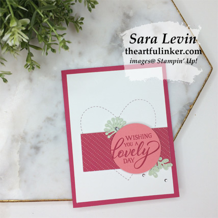 Forever Lovely with Be Mine Stitched Framelits card, clean and simple, from theartfulinker.com