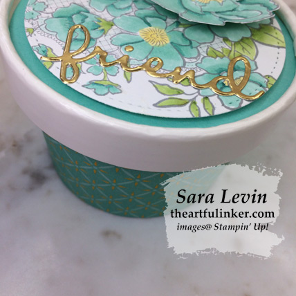 Lovely Lattice Sweet Cup with Well Written Framelits friend die cut in Gold Foil from theartfulinker.com
