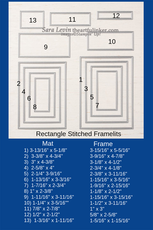 Rectangle Stitched Framelits size chart from theartfulinker.com