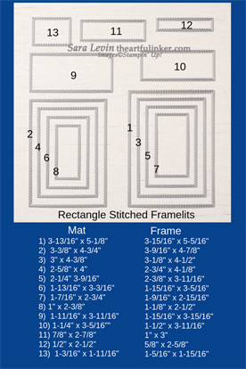 Stampin Up Stitched Rectangles Dies size chart for mats and frames. Shop for Stampin Up with Sara Levin at theartfulinker.com