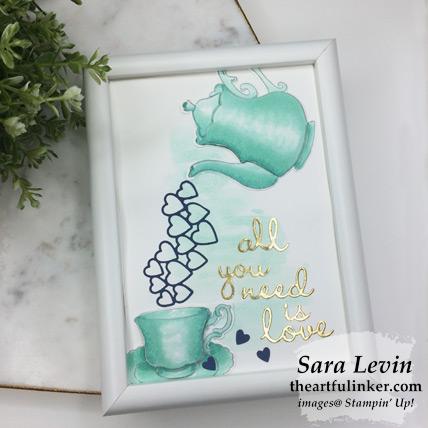 Tea Together framed love for Home Decor hop - lying flat, from theartfulinker.com