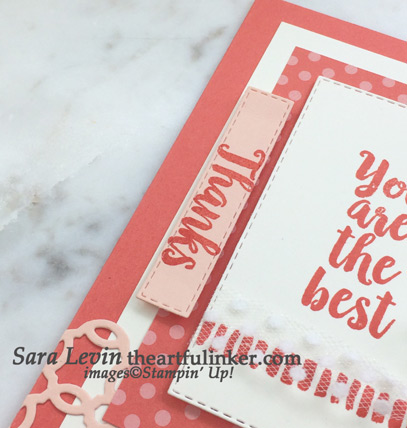 A Big Thank You in Calypso Coral card using this week's team sketch - sentiment detail - from theartfulinker.com