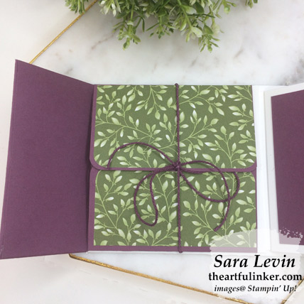 Floral Romance mini album - inside front cover tied pocket - from theartfulinker.com