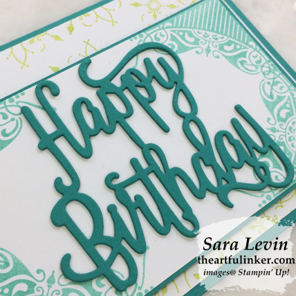All Adorned birthday card, Happy Birthday Thinlits die cut detail - from theartfulinker.com
