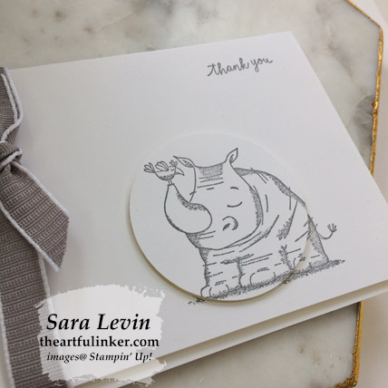 Animal Outing simple stamping thank you card, detail - from theartfulinker.com